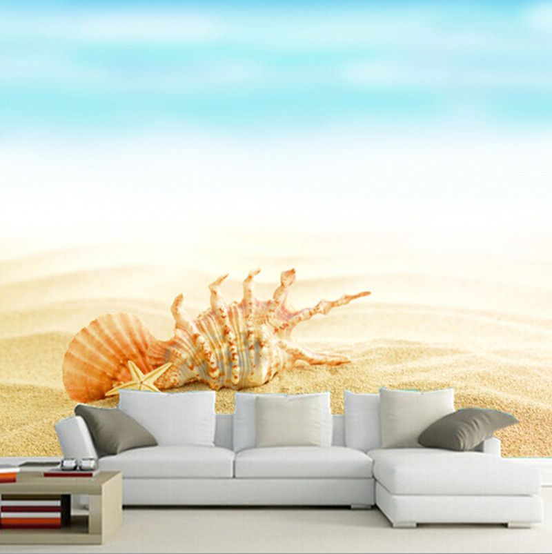 The custom 3D murals, 3D beautiful Shells  and Sand  papel de parede ,cafe wall living room sofa TV wall bedroom wall paper llama llama sand and sun