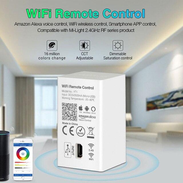 Milight YT1 voz por WiFi controlador remoto DC5V USB Smart 4G Android IOS APP controlador para 2,4 GHz RGB CCT RGBW tira de bombillas led