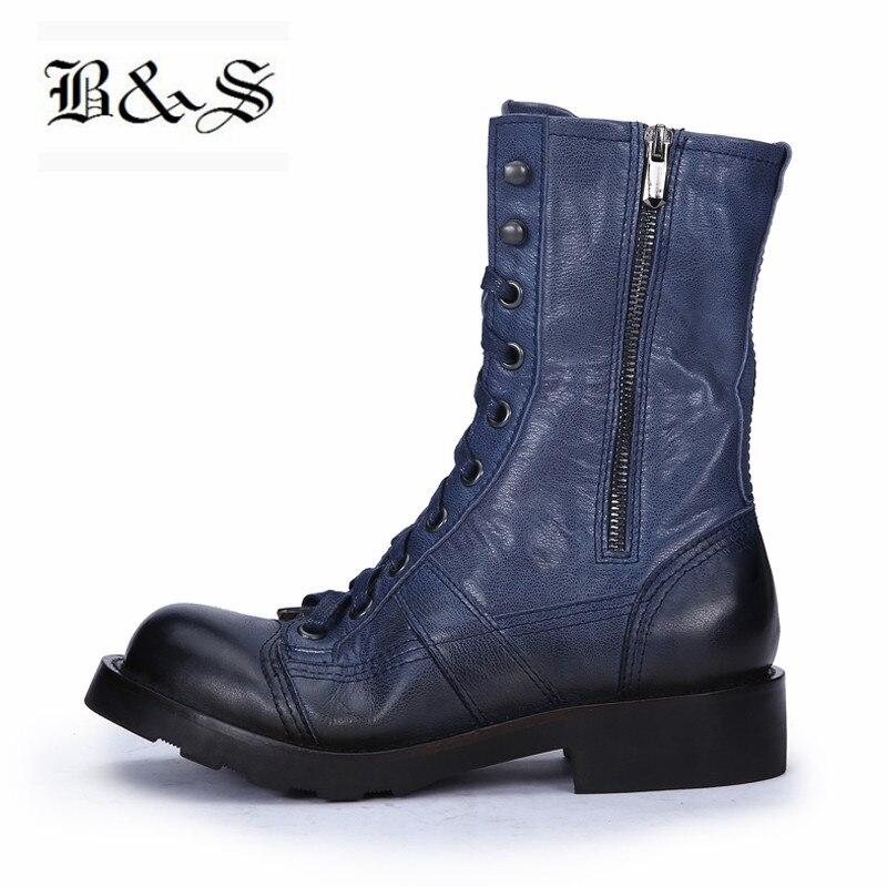Black & Rua estação Europeia handmade retro Punk botas feminino genuíno laço de couro up deserto cavaleiro botas altas de fundo grosso