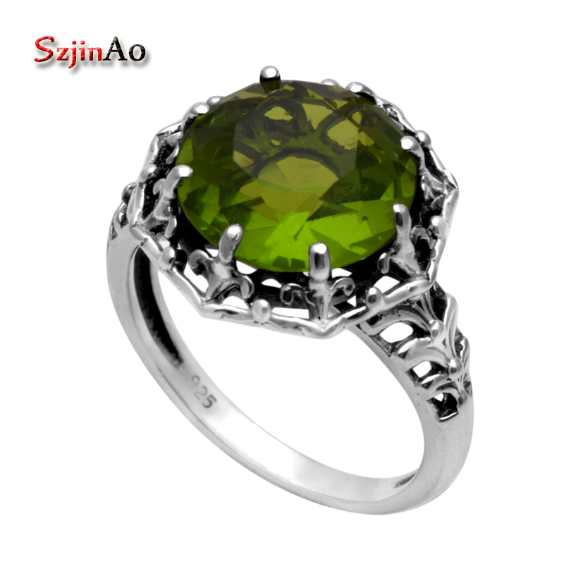 2863c0c1b9e8 Szjinao moda plata esterlina anillo Victoria estilo antiguo joyería alta  calidad 925 Peridot Anillos para las mujeres