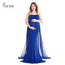 accf9fceb MUABABY mujeres sin tirantes de longitud completa Maxi vestido para la  fotografía señora fruncido maternidad vestido