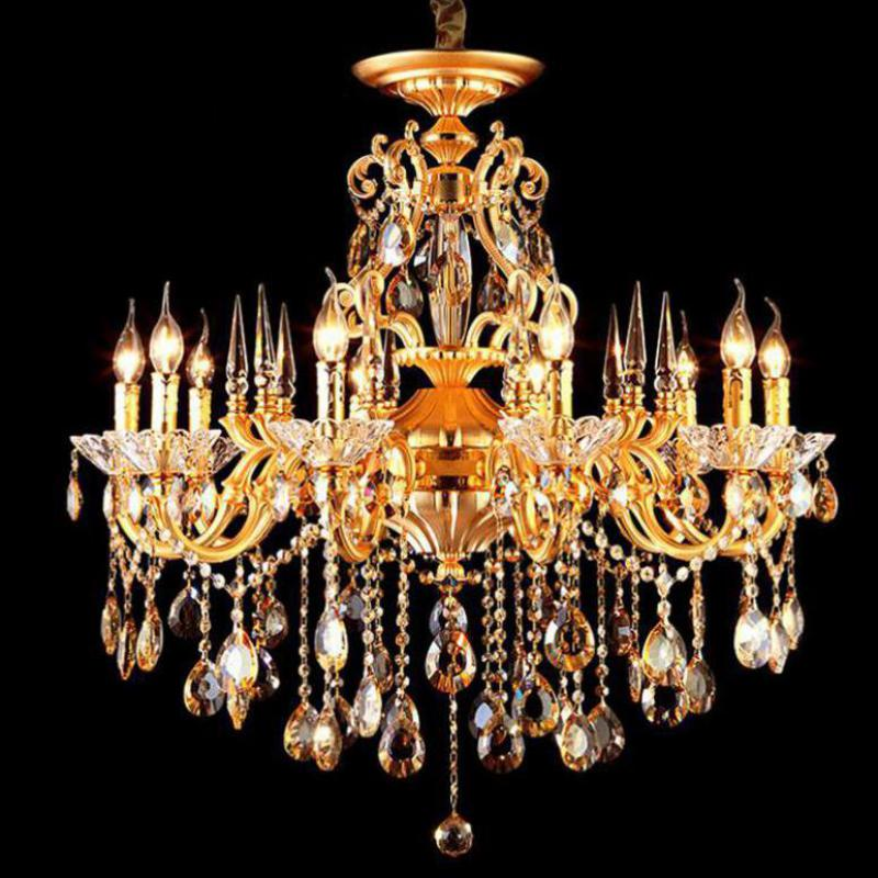 люстра chandelier 6 arm Vintage 10-arm Gold Aluminum led chandelier crystal lamp for living room hotel lustre Restaurant home E14 candle holder lighting