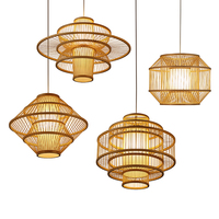 Southeast Asian Hand Knitting Art Chandelier LED Bamboo Pendant Lamp Living Room Restaurant Corridor Decor Hanging Lamp Lighting