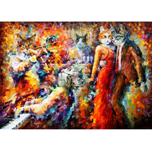 Hand Painted Abstract Landscape Cat Club Knife Modern Art Oil Painting Canvas Art Living Room hallway Artwork Fine Art