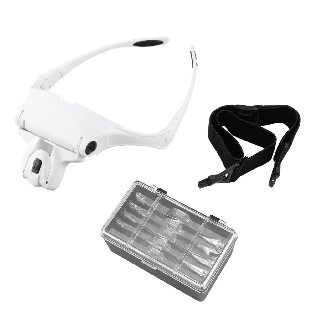Interchangeable 5 Pcs Lenses Magnifier Headband 1.0X/1.5X/2.0X/2.5X/3.5X Magnifying Glasses Magnifier Headband 2LED Head Lamps