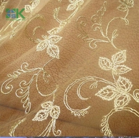 High quality 2yards/lot Lace Lover Light beige bone lace garment accessories gold line dress fabric lace for clothes 120cm width