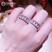 Omengnew لطيف s925 فضة لوتس حلقة الصغرى رصع الماس الدائري المفصل الدائري الأزياء البهجة سيدة امرأة OJZ045 المتزوجات