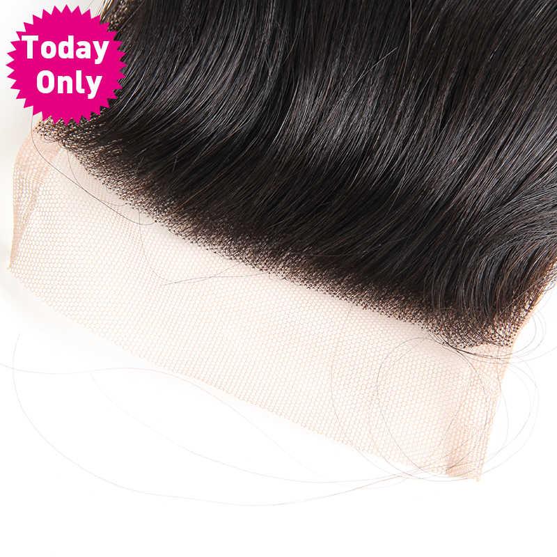 Vandaag Alleen Braziliaanse Body Wave Bundels 4X4 Vetersluiting Met Baby Haar 100% Menselijk Haar Weave Remy Natuurlijke kleur 8-20 Inch