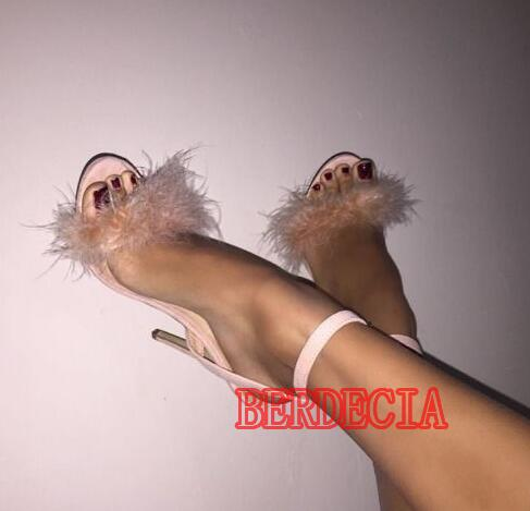 ФОТО Faux Fur Cover Straps Open Toe Women Concise Sandals Thin Ankle Buckle High Heels Ladies Sexy Party Shoes Dress Shoes Wholesale
