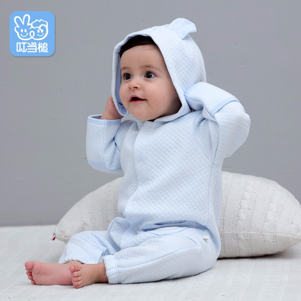 Jingle Mallet New born warm Clothing Hooded Cute Printing Baby Costumes Infant Romper Baby Boys Girls Jumpsuit 2016 infant romper baby boys girls jumpsuit new born bebe clothing baby clothes cute ladybug romper baby orangutan costumes