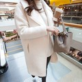 Новый Корейский большой лацкане шерстяное пальто Девушки длинный участок был тонкий white34