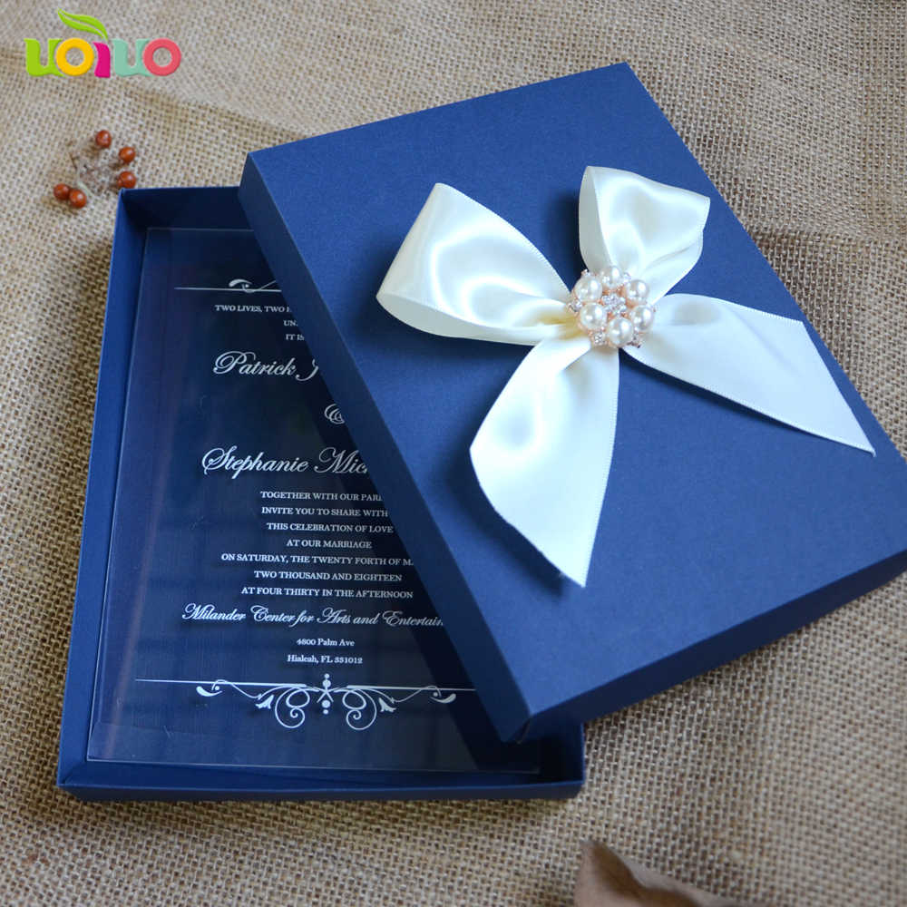 Latest Royal Blue Acrylic Wedding Invitation Card Box Elegant Clear Customize Wedding Favor Invitations For Wedding And Birthday