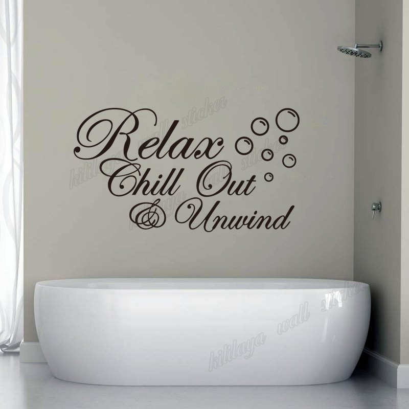 online shop diy vinyl wall stickers for bathroom relax chill out unwind with bubbles mural wall decal home decor art wallpaper 30x55cm aliexpress mobile