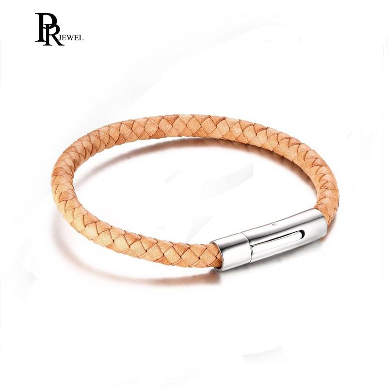 Punk Style Leather Light Brown Handmade Braided Rope Bracelet