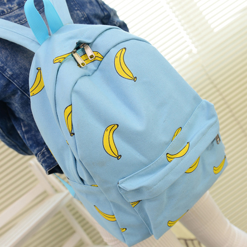 100Pcs/Lot Girl Banana Print Rucksock Travel Pratical School Bags Unique Canvas Backpack For Teenage Girls