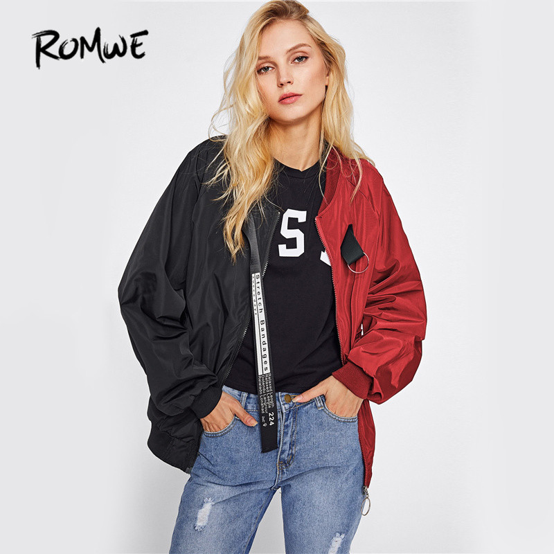 ROMWE Patchwork Casual Bomber Jacket Color Block Wo