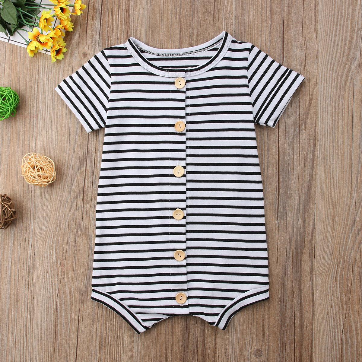 Toddler Baby Kids Boy Girl Short Sleeve Button Romper Jumpsuit Infant Bodysuit F
