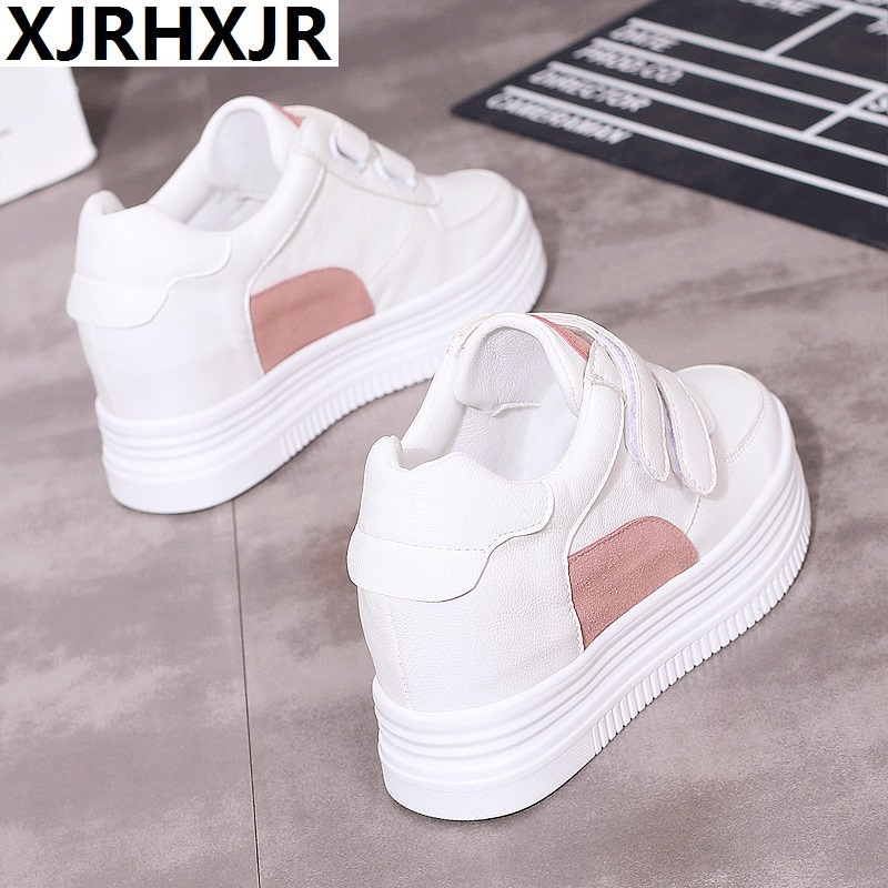 8CM Heels Women Sneakers 2018 Autumn High Heels Ladies Casual Shoes Women Wedges platform shoes Female Thick Bottom Trainers new genuine leather women shoes 2016 lace up 8cm high platform shoes women wedges casual shoes thick heels trainers girls