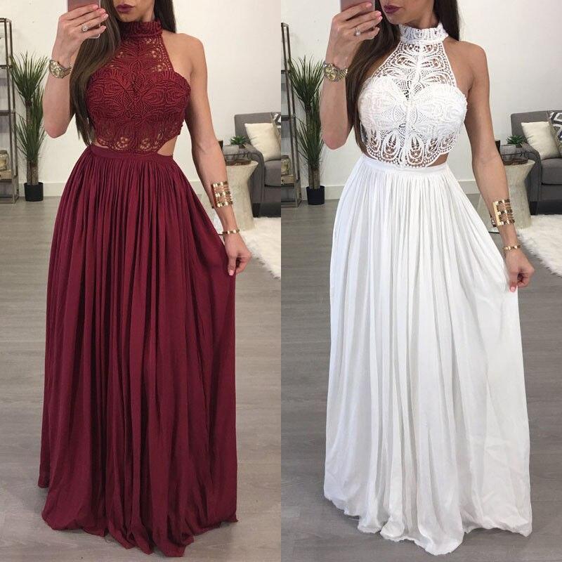 Heiße Frauen Damen Maxi Sommer Lange Abend Party Kleid Strand Kleid Sommerkleid Weiß Wein Rot Kleidung