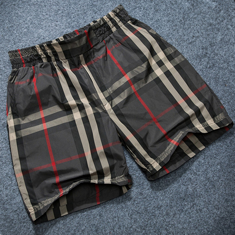 2018 summer fashion new mens casual stretch waist shorts / Mens Plaid Loose Comfort Shorts