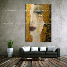Hand painted Canvas Painting Golden Tears by Gustav Klimt Modern Oil Quardro Home Decor Wall Pictures For Living Room