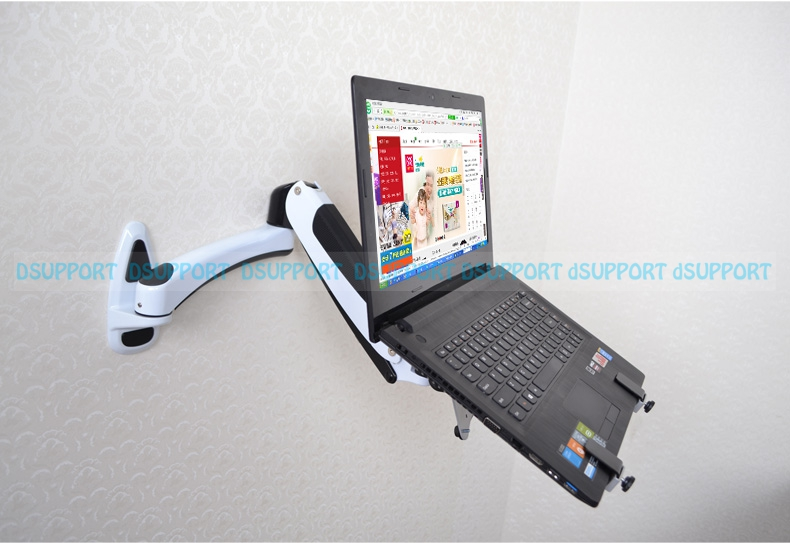 Wall Mount Laptop Holder Gas Spring Arm Aluminum Alloy Full Motion 10 15 inch Laptop Mount