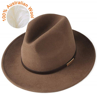 FURTALK Fedora Hat for Women Men 100% Australian Wool Felt Wide Brim Hat Vintage Jazz Fedora Hat Couple Cap Winter chapeau femme 1