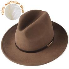 FURTALK Fedora шляпа для женщин и мужчин австралийская шерстяная фетровая шляпа с широкими полями винтажная джазовая фетровая шляпа для пары зимняя шапка для женщин