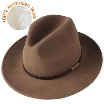FURTALK Fedora Hat for Women Men 100% Australian Wool Felt Wide Brim Hat Vintage Jazz Fedora Hat Couple Cap Winter chapeau femme