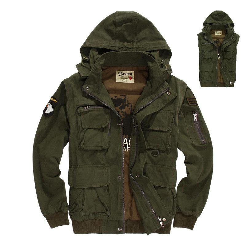 Nouveau Militaire Mens Tactique Veste multi-poche Amovible Manches US Army Air Force Pilotes Veste Manteau Hommes Outwear 3XL BF320
