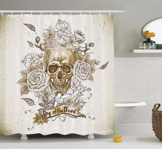 High Quality Arts Shower Curtains Skull With Roses Day Of The Dead Sign  Horror Mexican Bathroom