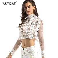 Articat Sexy White Lace Blouse Shirt Women Tops Hollow Out Back Zipper Chiffon Blouses 2017 Elegant