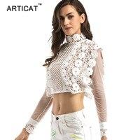 Articat Sexy White Lace Blouse Shirt Women Tops Hollow Out Back Zipper Chiffon Blouses 2017 Elegant