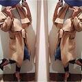 Moda para mujer de lana caliente cachemira largo invierno Parka Coat chaqueta con capucha Outwear