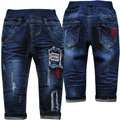 4013 pequeno buraco calças de jeans denim bebê suave primavera outono azul marinho bebê menino calças do bebê calças crianças nova moda 2017