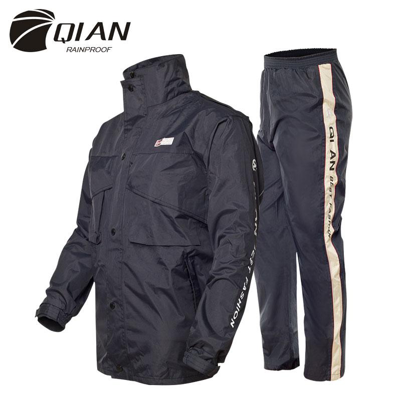 Chubasquero Impermeable QIAN, traje para hombres y mujeres, chubasquero para exteriores con capucha para mujer, Impermeable para motocicleta, pesca, Camping, ropa de lluvia, abrigo para hombres