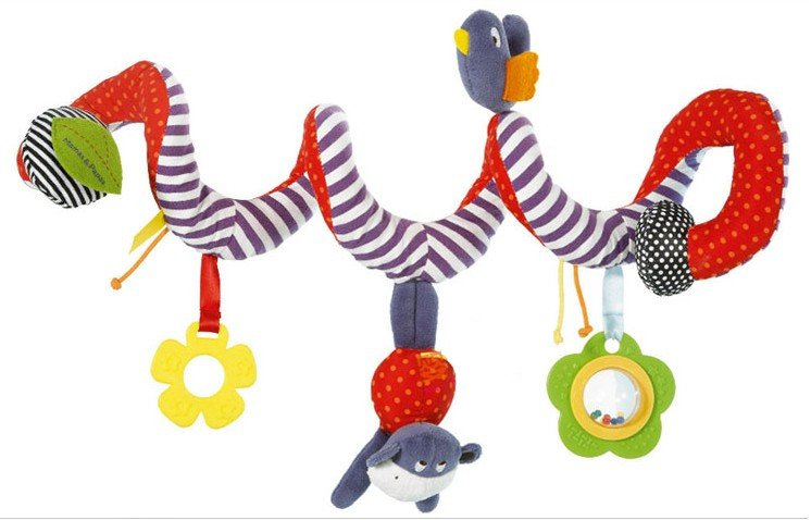 Free shipping super cute high quality soft animal stripes bed hanging rattle baby plush toy children gift
