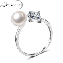 YouNoble Fashion Real Natural Freshwater Pearl Rings CZ Stone for Women Rings,925 silver Ring Jewelry Bijoux Adjust