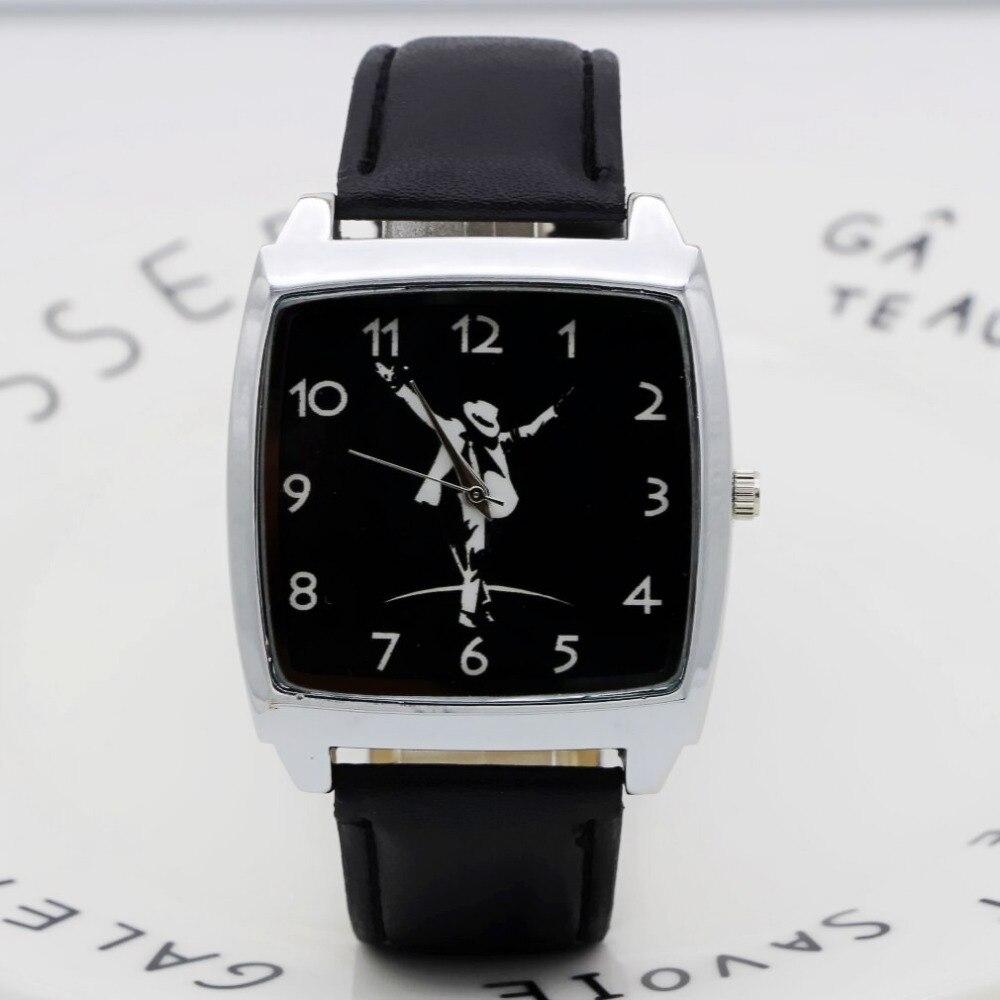 2019 Cartoon Michael Jackson Rectangle Dial Children's Watches Women's Kids Student Boys Girls Quartz Leather Strap Wrist Watch