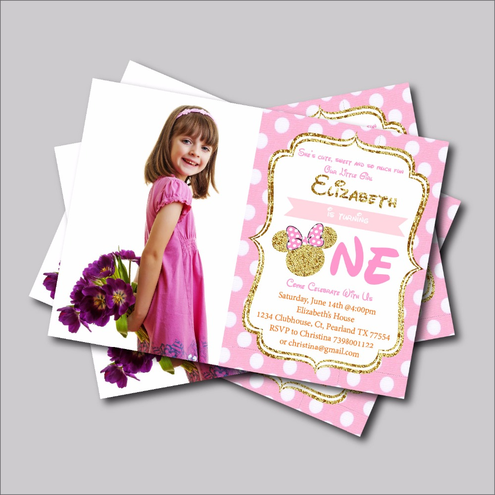 15 10 post free 25 Lovely Handmade Minnie Mouse Christening Invitations