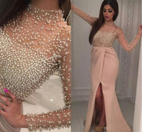 Luxury Pearls Long Sleeve Dubai Robe De Soiree Evening Dresses 2017 High Neck Side Split Mermaid