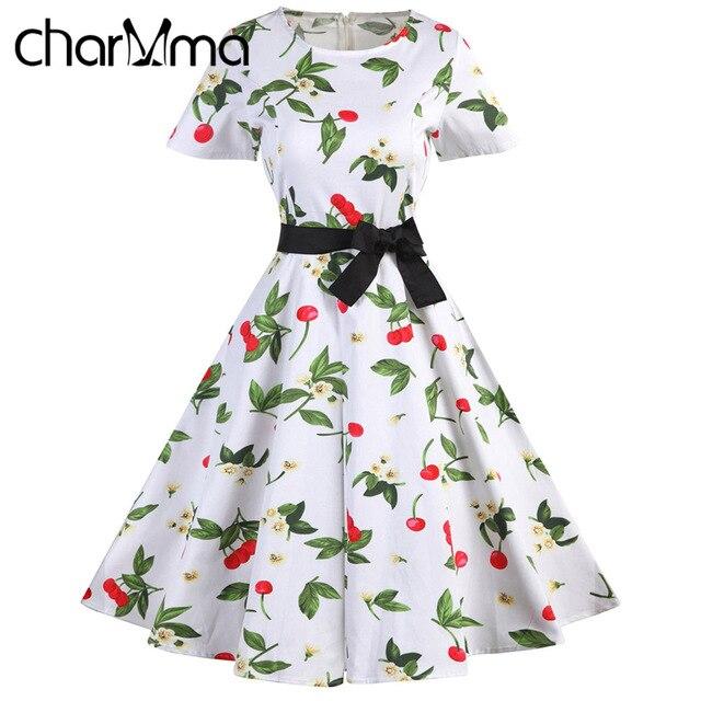 caf6a4ff228a4 US $25.18 |CharMma Vintage Summer Dress Women 60s Floral Print Bow Sash  Dress Audrey Hepburn Vestidos 2017 Plus Size 7 Colors Retro Dress-in  Dresses ...