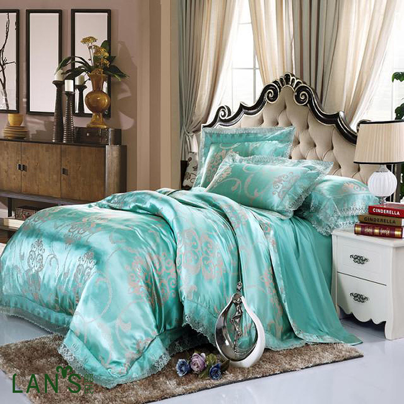 luxury teal red pink tencel modal jacquard lace 4pcs bedding sets queen king size bedclothes. Black Bedroom Furniture Sets. Home Design Ideas