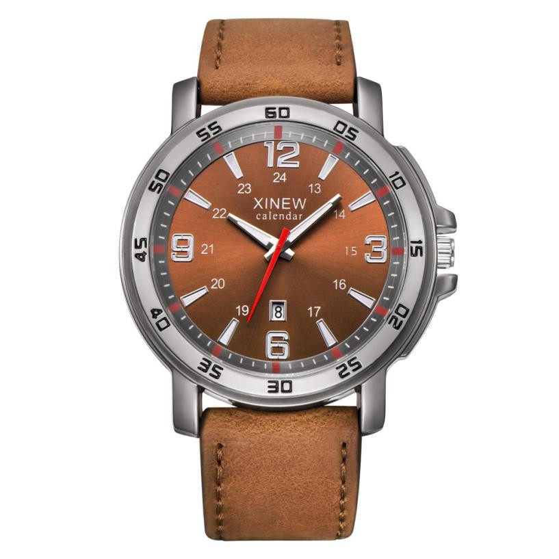 Top Brands Men Fashion Luxury Sports Date Display Leather Stainless Steel Simple Design Analog Quartz Wrist Watch clock xfcs yisuya creative fashion full bamboo triangular quartz wrist watch men simple unique novel analog hollow bangle nature wood clock