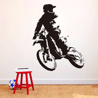 Free Shipping Motor Stunt Motorcycle Wallpaper Home Decor Accessories Sticker Vinyl Self Adhesive Motorbike Wall Decal For Boys