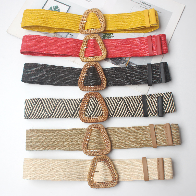 New Vintage Knitted Wax Rope Wooden Bead Waist Rope Women Smooth Buckle Belt Woman Woven Female Hand Beaded Braided Belt BZ50 in Women 39 s Belts from Apparel Accessories