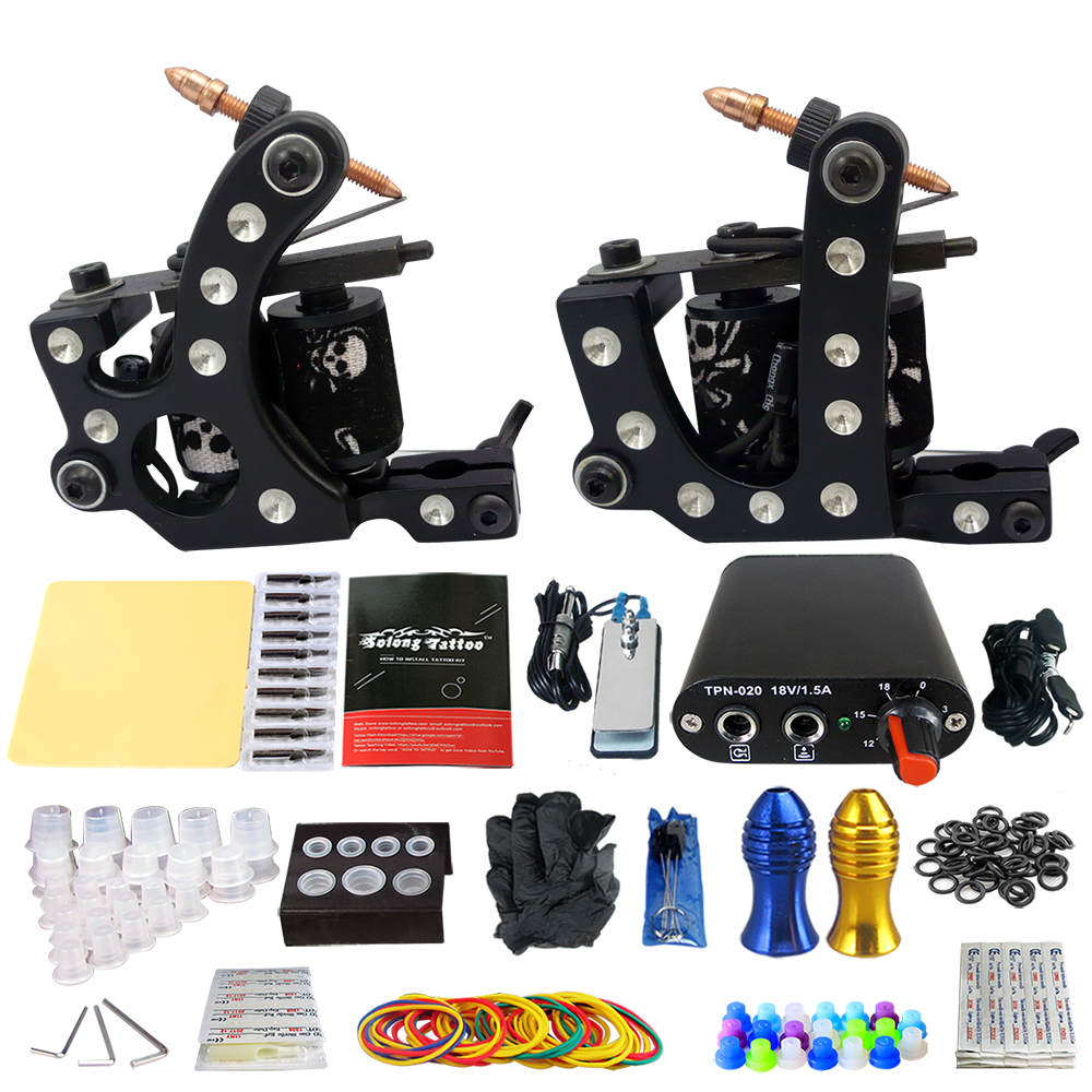 Solong Tattoo Complete 2 Coil Tattoo Machine Kit Power Supply Foot Pedal Switch Needles Set TK201-20 black red yellow blue skull design stainless steel tattoo foot pedal switch footswitch power supply