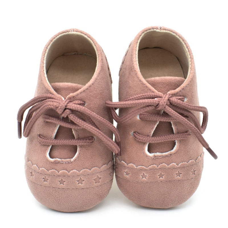 Autumn Newborn Baby Kids Boys Girls PU Shoes Casual Soft Sole Solid Color Lace-Up Suede Leather Comfortable First Walker Shoes 0