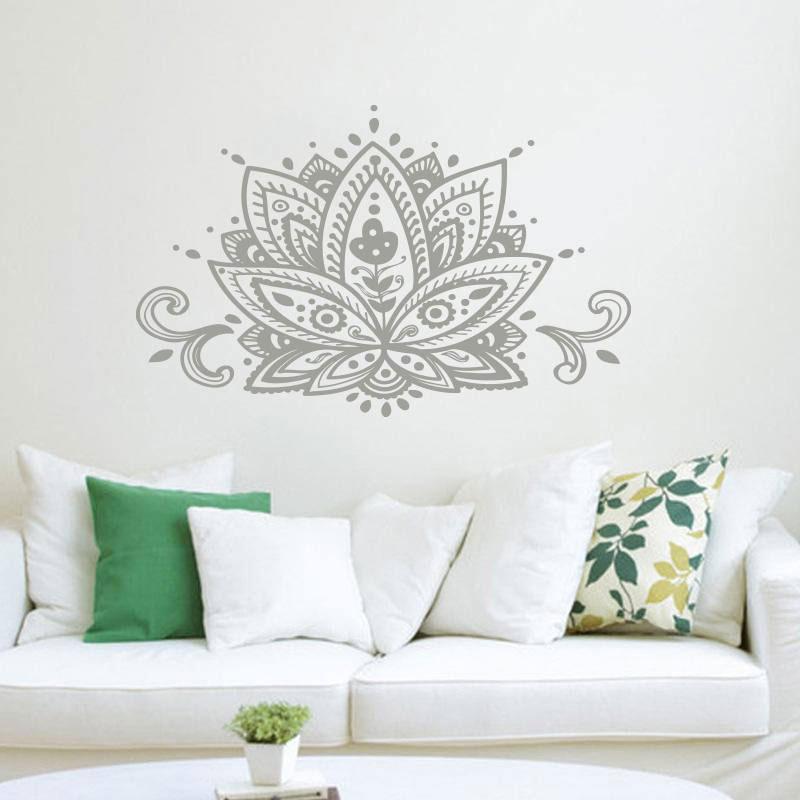 Betrouwbaar Lotus Bloem Muurtattoo Namaste Mandala Muursticker Boho Bohemian Home Decor Indian Patroon Yoga Studio Muur Art Mural Mtl15