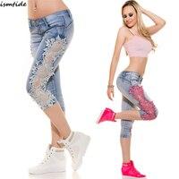 Denim Jeans Shorts Frauen Spitze Denim Jeans Shorts Auszuhöhlen Ripped Spitze Patchwork Shorts Low Waist Denim Kurze 2018 Neue